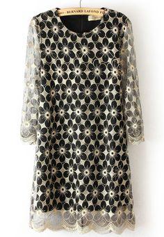#SheInside Black Round Neck Back Zipper Flower Pattern Lace Dress - Sheinside.com