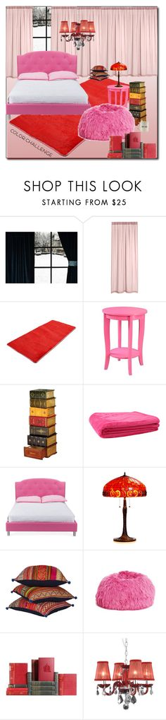 """""""Color Challenge: Red and Pink !"""" by emapolyvore ❤ liked on Polyvore featuring interior, interiors, interior design, home, home decor, interior decorating, Convenience Concepts, JAG Zoeppritz, Warehouse of Tiffany and PBteen"""