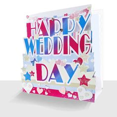 A luxury pop up Happy Wedding Day Card hand embellished with paper bunting, sparkle and sequins. The front has the words  Happy Wedding Day cut out in a fun polka dot heart designed card and mounted in a step card effect onto a white card.   The inside scalloped edge inner is left blank for your special message. Suitable for LGBT couples Paper Bunting, Happy Wedding Day, Step Cards, Happy Words, Unique Cards, Greeting Cards, 3d, Lgbt Couples, Sparkle