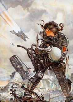 Gimenez, pilot, futuristic suit, future soldier, future war, retro-futuristic, science fiction