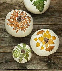 Decoupage real leaves onto pumpkins.