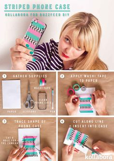 Striped Phone Case #DIY #washi #maskingtape