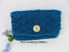PDF Knitting Pattern for a lattice stitch textured clutch. End product measures 7.5 inches wide and 5 inches high and is perfect to keep checkbooks, passports and other necessities organized in your bag. Fun and easy knit with just enough texture to provide intrest.