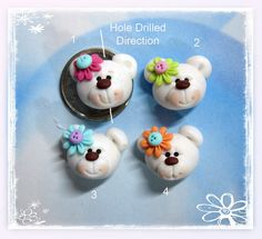 Polar+Bear+Head++Polymer+Clay+Charm+Bead+by+rainbowdayhappy,+$2.25