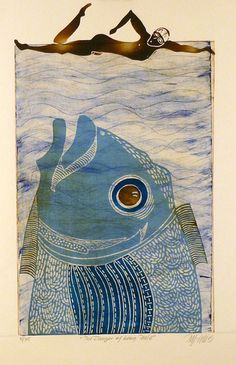 linocut, drypoint, The Danger of Being Male Contemporary Printmaking, Museum Art Gallery, Painted Rocks Craft, Fish Tales, Watercolor Artwork, Fish Art, Gravure, Cool Art, Art Projects