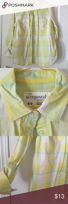 Aero Spring Shirt Yellow and white Sz M Yellow and white Button down with a touch of green Aeropostale Tops Button Down Shirts