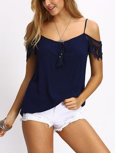 Cheap blouses for women Buy Quality blouse women directly from China blous Suppliers: SheIn Ladies Open Shoulder Lace Sleeve Tassel Blouses Summer Women Tops Plain Blue Short Sleeve Casual Slim Blouse Trendy Fashion, Fashion Outfits, Womens Fashion, Fashion Trends, Style Fashion, Ootd Fashion, Trendy Outfits, Korean Fashion, Tee Shirt Dentelle