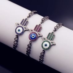 Turkey Amulet Bracelet Jewelry 3 Colors Crystal CZ Iced Out Hamasa hand with Evil Eyes Pendant Bracelet Nazar Boncugu Bangles #Affiliate