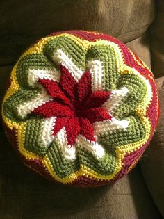 Pinwheel Pillow Crocheted and Handmade by WeigelCraftCorner