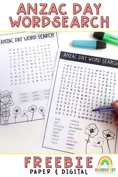 Free ANZAC Day Word Search, in both printable and digital versions. Includes two word searches. An easier one with 9 words (forwards and diagonal) and another including 17 words (forwards, backwards, diagonal) containing ANZAC Day vocabulary. Teaching Resources, Teaching Ideas, P Words, Primary School Teacher, Rainbow Sky, Classroom Freebies, Anzac Day, Australian Curriculum, Remembrance Day