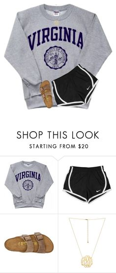 """I'm terrible at making sets with shorts"" by southerngirl03 ❤ liked on Polyvore featuring NIKE and Birkenstock"