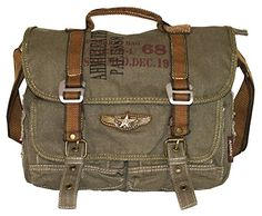 Product Description * Military Vintage Canvas Over the Shoulder Messenger Bag. * Single long adjustable strap with short handle. * Interior zip, wall and cell phone pockets. Womens Messenger Bag, Vintage Messenger Bag, Canvas Messenger Bag, Sac Week End, Retro Bike, Vintage Canvas, Vintage Bag, Military Fashion, Military Style
