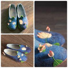 gorgeous slippers w 3d felt lotus flowers.
