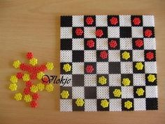 Draughtboard hama perler beads by vlokje: