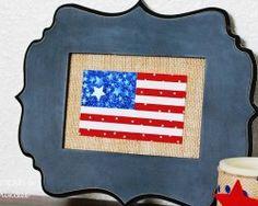 Burlap American Flag Frame - A Pumpkin and a Princess