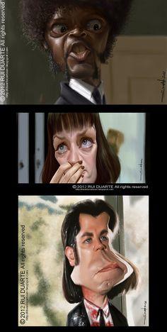 Caricaturas de Pulp Fiction.