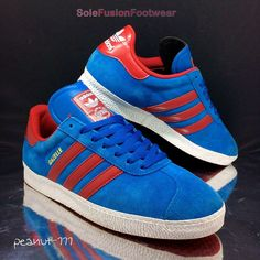 adidas Originals Mens Gazelle Trainers Blue Red sz 8 Rare Sneakers US 8.5  EU 42 fc9aabfeae62