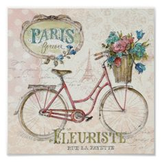 Paris Bike With Flowers In Front Poster Vintage Paris, Vintage Diy, Vintage Images, Wall Art Prints, Poster Prints, Canvas Prints, Art Posters, Framed Prints, Velo Paris
