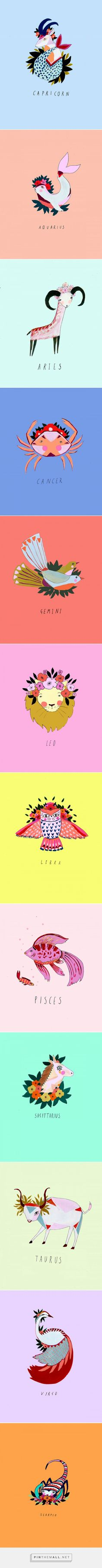 Zodiac Illustrations by Katy Smail