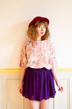 chiffon tunic blouse/ mini dress/ by LastTangoinParis Last Tango In Paris, Pet Tiger, Tunic Blouse, 1980s, Chiffon, Photoshoot, Mini, Summer, Shopping