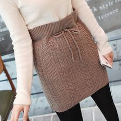 [Miamasvin] Cable Knit Drawstring Skirt
