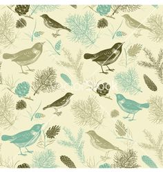 Vintage birds pattern vector on VectorStock®