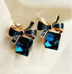 Blue Kiss E480 The Fashion 2016 Chic Shimmer Plated Gold Bow Cubic Crystal Earrings Rhinestone Stud Earrings For Women