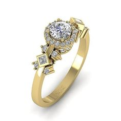 #jewelry Princess Round Diamond Halo Solitaire Engagement Ring I1/G 1.00Ct Yellow Gold please retweet