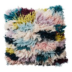 Multicolour Shaggy Wool Cushion