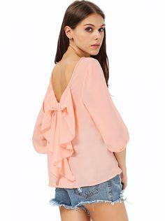 Peach Long Sleeve Bowknot Backless Blouse 13.33