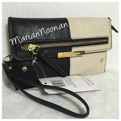 NWT Steve Madden Black Taupe Pieced Flap Colorblock Wristlet Wallet