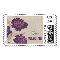 Elegant Plum | Cream | Beige Burlap Texture Floral Design Wedding Postage Stamps. Matching Bridal Shower Invitations, Wedding Invitation Cards, Wedding Postage Stamps, Wedding Save the Date Announcements, Bridesmaid to be Request Cards, Thank You Cards , RSVP Cards and other Wedding Stationery and Wedding Gifts and Favors available in the yourweddingday store at zazzle.com