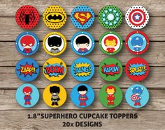 Avenger Superhero Cupcake Toppers by HeavenlySweetConfect on Etsy