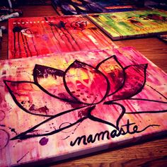 Namaste :) lotus flower, yoga, abstract acrylic painting on canvas. What a happy painting ;)