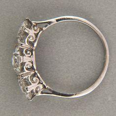 EUROPEAN CUT ART DECO PLATINUM 1.65CT DIAMOND 3 STONE RING 1.71CT SIDE DIAMONDS | eBay