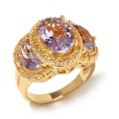 Sevilla Silver with Technibond® Gemstone and White Topaz 3-Stone Ring - Purple