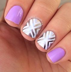 Easy nail art. Can change purple with other colors
