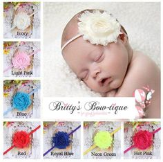 Single Shabby Chic Flower w/ Thin Band $ 5.99 TO PURCHASE CLICK THE LINK BELOW http://brittys-bow-tique.myshopify.com/collections/headbands/products/single-shabby-chic-flower-w-thin-band