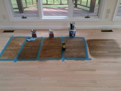 Choosing hardwood floor stain for our home. From left to right: special walnut, dark walnut, medium brown, custom mix: 1 part ebony/ 6 parts natural, custom mix: 1 part ebony/ 6 parts natural/ one part special walnut. (All duraseal except bona for mixes #4 and 5)