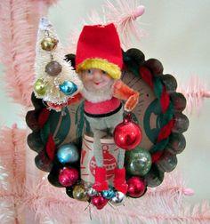 Vintage Elf in Tin Tart Mold Ornament OOAK by dimestorechic