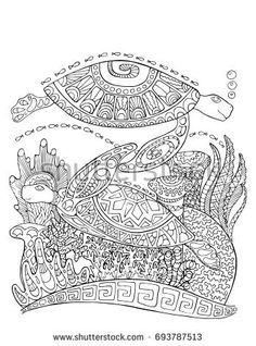 Sea turtle doodle style coloring page. Underwater vector illustration for adult coloring. Sea turtles underwater with corals. Black line bordered coloring page. Corals and sea tortoise vertical card