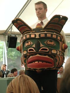 An amazing mask. The jaw is hinged, and it blows down as well. The copper in the firelight is amazing. A great creation by Calvin Hunt and auctioned for the Bill Holm Center at the Burke Museum in Seattle. Mask was danced at Camp Nor'wester's Big House in 2011