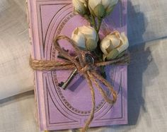 "French Shabby Chic Romantic pair of small French books titled ""Contes Galants"" covered in a silken lavender-pink -    Edit Listing  - Etsy"