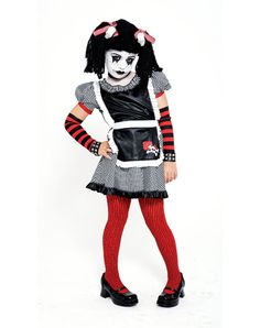 Gothic Ragdoll Girls Costume with Wig
