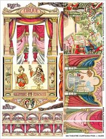 Small Theatre Curtains set using vintage Toy Theater images. Available as a digital download from Alpha Stamps at http://www.alphastamps.com/Collage_Sheets-Paper_Theatres/c1_121/p4645/Small_Theatre_Curtains_Pink/product_info.html  Others of this Toy Theater type can be found at http://www.alphastamps.com/Collage_Sheets-Paper_Theatres/c1_121/index.html