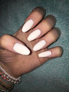 White Coffin nails long nails acrylics