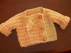 One piece baby sweater - free crochet pattern from crochetme!