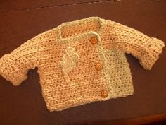 One piece baby sweater - free crochet pattern from crochetme!