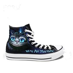 Hand Painted Shoes Men Women Converse All Star We& All Mad Here Cheshire Cat Alice In Wonderland Design High Top Sneakers Custom Painted Shoes, Hand Painted Shoes, Converse All Star, Converse Shoes High Top, Emo Shoes, Shoes Men, Women's Shoes, Best Golf Shoes, High Top Sneakers