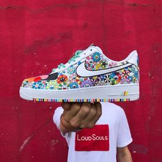 ike x Air Force 1 Custom - Custom Painted Shoes, Custom Shoes, Sneaker Diy, Nike Shoes Air Force, Cute Sneakers, Casual Sneakers, Aesthetic Shoes, Hype Shoes, Fresh Shoes